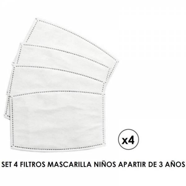 SET 4 FILTROS MASCARILLA NIÑO 523  01 BLANCO COIMASA